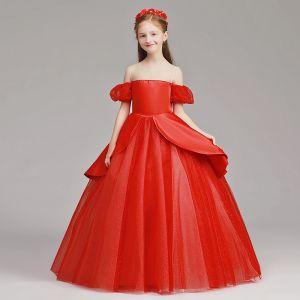 Bling Bling Rot Durchsichtige Blumenmädchenkleider 2019 A Linie Rundhalsausschnitt Kurze Ärmel Glanz Tülle Lange Rüschen Kleider Für Hochzeit