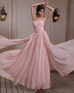Fashionabla Armlos Chiffong Beading Volanger Sweetheart Golv Aftonklänningar Aftonklänning