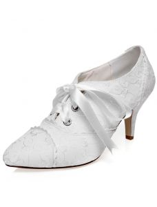 Vintage Satin Wedding Shoes 3 Inch Stiletto Heels Embroidered Lace Bridal Shoes With Bow