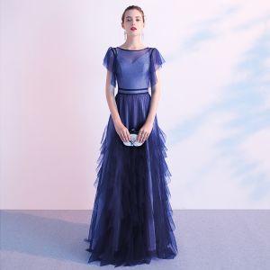 Elegant Ocean Blue Evening Dresses  2020 A-Line / Princess Scoop Neck Short Sleeve Floor-Length / Long Formal Dresses