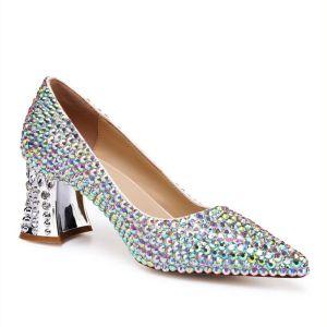 Chic / Belle Multi-Couleurs Faux Diamant Chaussure De Mariée 2020 Cuir 5 cm Talons Épais À Bout Pointu Mariage Escarpins
