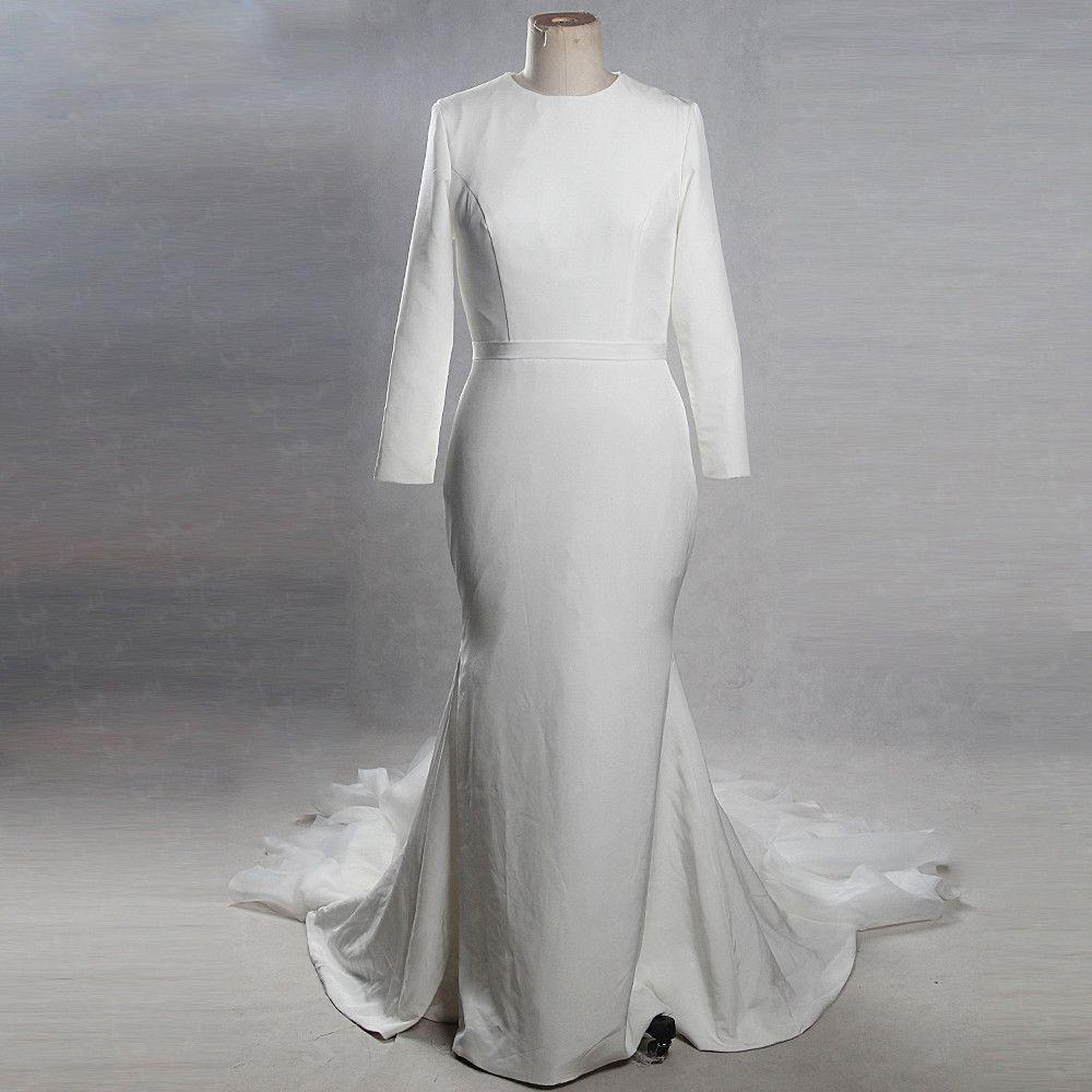Vintage Ivory / Creme Kapelle-Schleppe 2018 Hochzeit Mermaid Lange Ärmel Rundhalsausschnitt Charmeuse Geschwollenes Schaltflächen Brautkleider