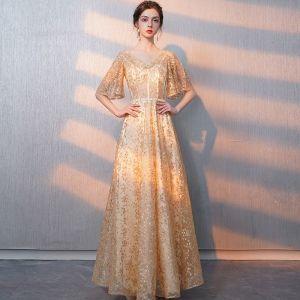 Bling Bling Gold Evening Dresses  2018 A-Line / Princess V-Neck 1/2 Sleeves Sash Glitter Tulle Floor-Length / Long Ruffle Backless Formal Dresses
