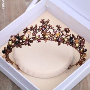 Vintage Braun Diadem 2018 Metall Kristall Perle Strass Brautaccessoires