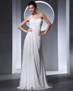 One Shoulder Pleated Floor Length Chiffon Woman Empire Wedding Dress