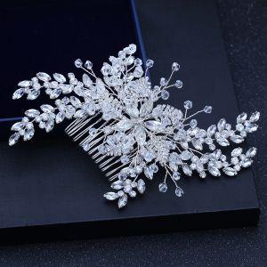 Chic / Beautiful Silver Wedding Headpieces 2018 Metal Crystal Rhinestone Accessories