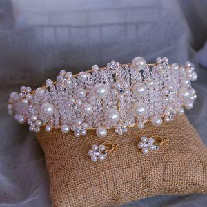 Chic / Beautiful Gold Bridal Hair Accessories 2020 Metal Crystal Pearl Headbands Earrings Wedding Accessories