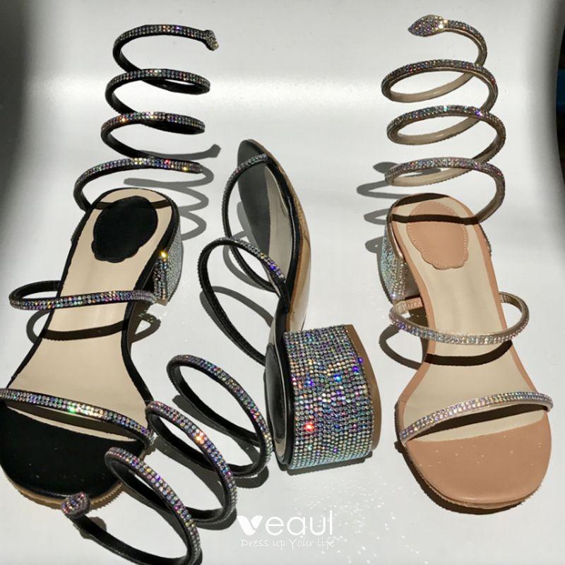 Amazing / Unique 2017 Silver Outdoor / Garden Leather Red Champagne Summer Rhinestone Low Heels / Kitten Heels Sandals Open / Peep Toe Womens Sandals