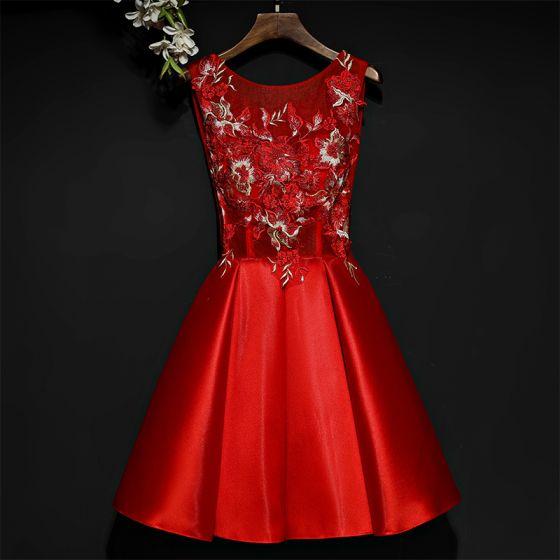 Hermoso Rojo Vestidos Formales Vestidos de noche 2017 Con Encaje Flor Cortos Scoop Escote Sin Mangas Ball Gown