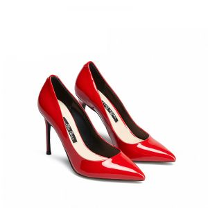 Chic / Beautiful Red Leather Evening Party Pumps 2019 Patent Leather 10 cm Stiletto Heels Pointed Toe Pumps