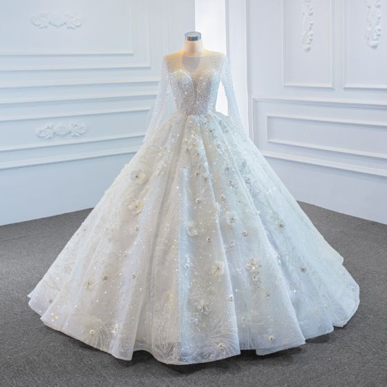 Luxury / Gorgeous White See-through Bridal Wedding Dresses 2020 Ball Gown Scoop Neck Long Sleeve Backless Appliques Flower Handmade  Beading Sweep Train Ruffle