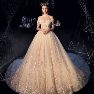 Best Champagne Wedding Dresses 2019 A-Line / Princess Off-The-Shoulder Short Sleeve Backless Appliques Lace Beading Pearl Sequins Cathedral Train Ruffle
