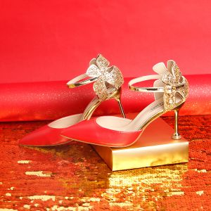 Mode Rot 9 cm Brautschuhe Perlenstickerei Glanz Pailletten Hochhackige Spitzschuh Hochzeit Ball Abend Damenschuhe 2019