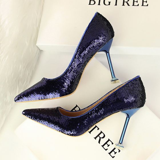 Sparkly Purple Evening Party Womens Shoes 2018 Sequins 9 cm Stiletto Heels Pointed Toe Pumps
