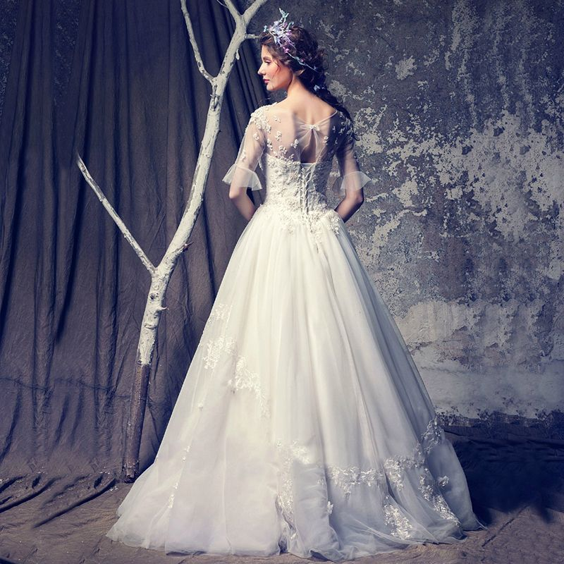 Chic / Beautiful Affordable Hall Wedding Dresses 2017 Lace Sequins Appliques Backless 1/2 Sleeves Scoop Neck Floor-Length / Long White A-Line / Princess