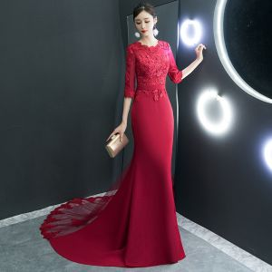 Affordable Red Evening Dresses  2019 Trumpet / Mermaid Scoop Neck 1/2 Sleeves Sash Appliques Lace Court Train Ruffle Formal Dresses