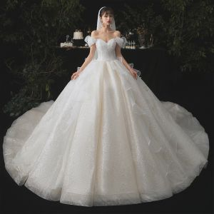 Cinderella Champagne Bridal Wedding Dresses 2020 Ball Gown Off-The-Shoulder Short Sleeve Backless Glitter Tulle Cathedral Train