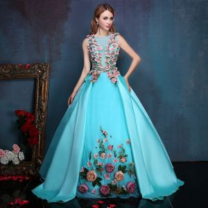 Flower Fairy Jade Green Floor-Length / Long Ball Gown Prom Dresses 2018 Ankle Strap Charmeuse U-Neck Appliques Formal Dresses
