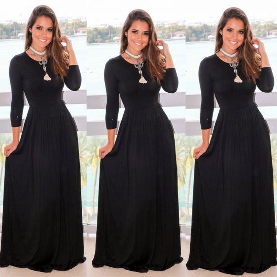 Simple Noire Robes Longues 2018 Empire Encolure Degagee Manches Longues Longue Vetements Femme