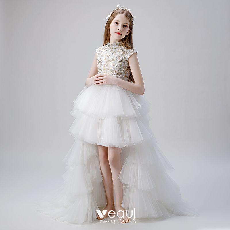 Vintage Weiß Blumenmädchenkleider 2019 Ballkleid ...