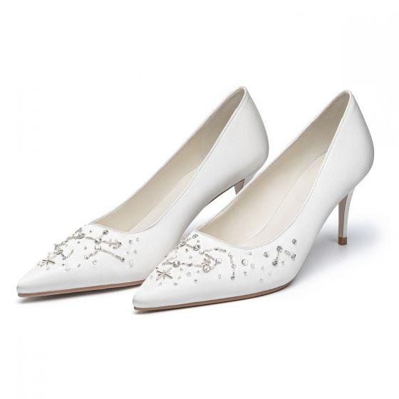 Chic / Belle Ivoire Satin Faux Diamant Chaussure De Mariée 2021 Cuir 7 cm Talons Aiguilles À Bout Pointu Mariage Escarpins Talons Hauts