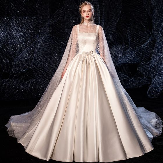 Chic / Beautiful Ivory Satin Wedding Dresses With Cloak 2020 A-Line / Princess Shoulders Sleeveless Backless Beading Chapel Train Ruffle