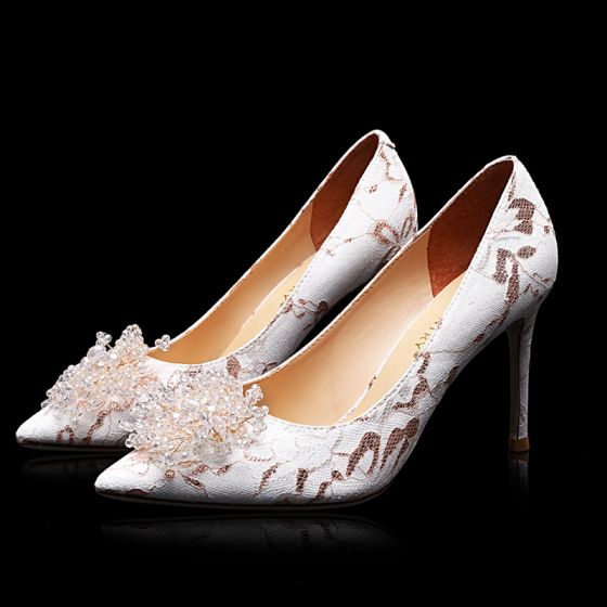 Charmant Ivoire Soirée Perlage Chaussure De Mariée 2021 Cuir 9 cm Talons Aiguilles À Bout Pointu Escarpins Talons Hauts