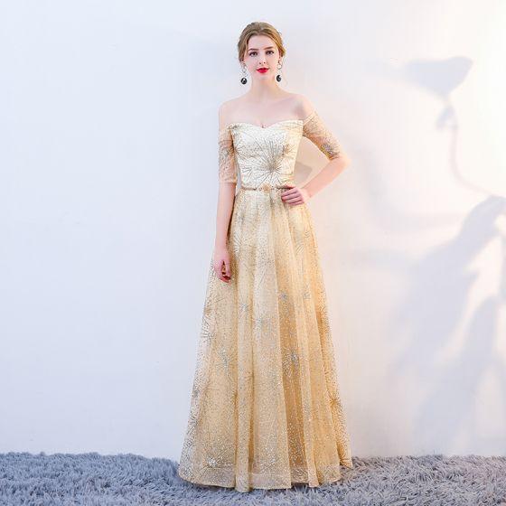 Sparkly Gold Evening Dresses  2018 A-Line / Princess Glitter Sequins Metal Sash Off-The-Shoulder Backless Short Sleeve Floor-Length / Long Formal Dresses