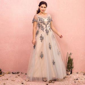 Luxury / Gorgeous Grey Plus Size Evening Dresses  2018 A-Line / Princess U-Neck Tulle Lace-up Ankle Strap Appliques Backless Evening Party Prom Dresses