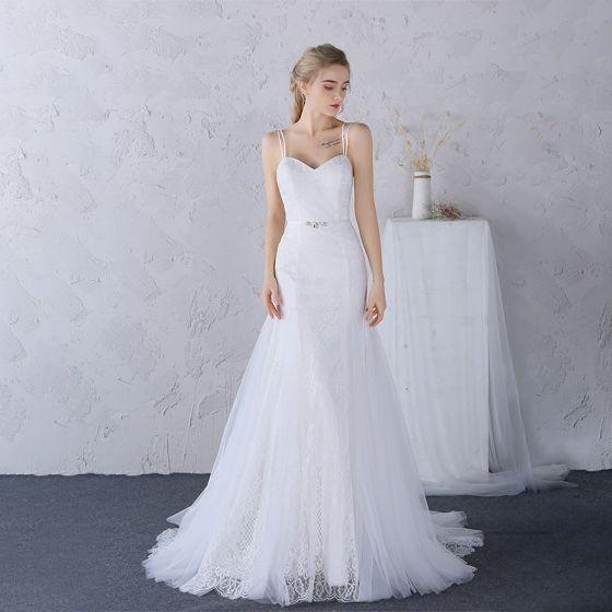 Proste Simple Kościół Suknie ślubne 2017 Koronkowe Aplikacje Perła