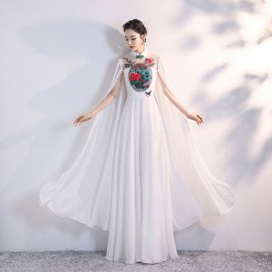 Chinese style White Chiffon Cheongsam / Qipao 2020 A-Line / Princess See-through High Neck Long Sleeve Appliques Embroidered Floor-Length / Long Ruffle Formal Dresses