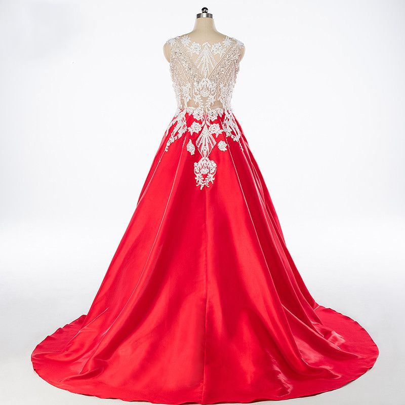 Luxury / Gorgeous Red Prom Dresses 2017 Sleeveless Beading Sequins Rhinestone Ruffle Appliques Backless Glitter Satin Formal Dresses