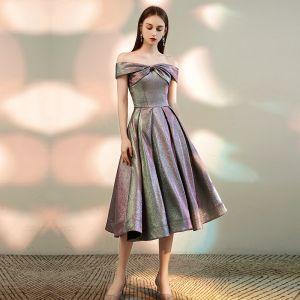 Fashion Multi-Colors Homecoming Graduation Dresses 2020 A-Line / Princess Off-The-Shoulder Short Sleeve Glitter Polyester Tea-length Ruffle Backless Formal Dresses