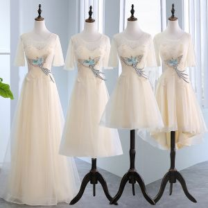 Amazing / Unique Champagne See-through Bridesmaid Dresses 2018 A-Line / Princess Scoop Neck Short Sleeve Appliques Lace Ruffle Backless Wedding Party Dresses