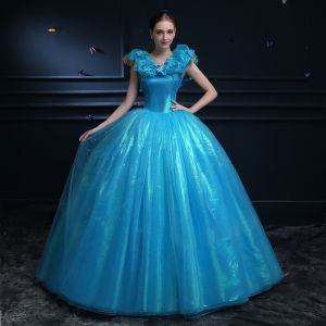 Affordable Cinderella Pool Blue Prom Dresses 2019 Ball Gown Glitter Tulle Scoop Neck Butterfly Appliques Sleeveless Backless Floor-Length / Long Formal Dresses