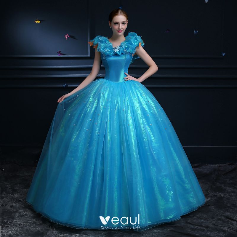cd87b30d62c Affordable Cinderella Pool Blue Prom Dresses 2019 Ball Gown Glitter Tulle  Scoop Neck Butterfly Appliques Sleeveless ...