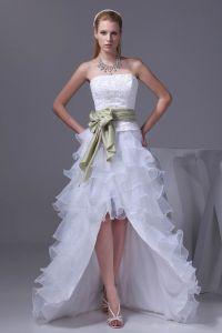 Lacet De Mode Satin Organza De Soie Bowknot Bretelles Mini Robes Courtes Asymetriques De Mariage
