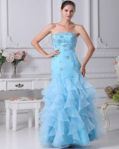 Organza Strapless Tiered Floor Length Quinceanera Prom Dress