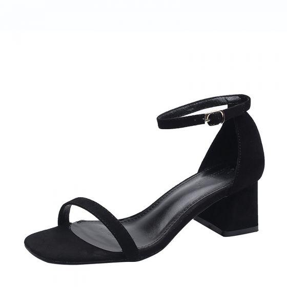 Mooie / Prachtige Zwarte Toevallig Suede Sandalen Dames 2020 Enkelband 5 cm Dikke Hak Peep Toe Sandalen
