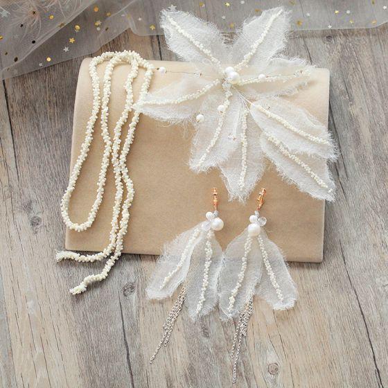 Klassisk Elegant Hvide Hårpynt 2019 Tulle Perle Håndlavet Bryllup Selskabs Galla Accessories