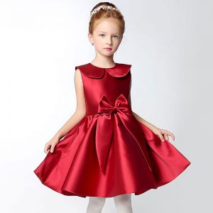 7fa4f0e9c2d Chic   Beautiful Hall Wedding Party Dresses 2017 Flower Girl Dresses  Burgundy Short A-Line