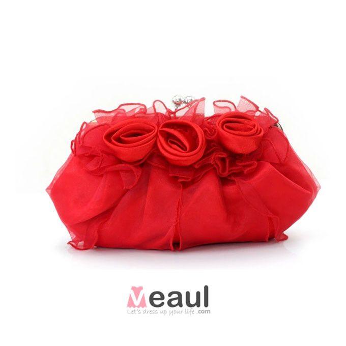 Mode Ros Blomma Clutch Väska Sota Brudtarna Handväska Bankett Liten Väska