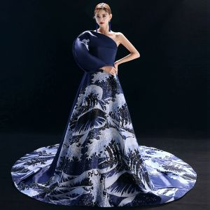 Vintage / Retro Chinese style Navy Blue Evening Dresses  2019 A-Line / Princess One-Shoulder Printing Long Sleeve Chapel Train Formal Dresses