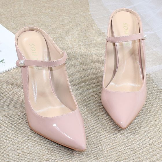 Chic / Beautiful Nude Casual Slingbacks Pumps 2020 Patent Leather 10 cm Stiletto Heels Pointed Toe Pumps