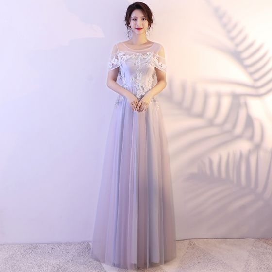 Elegant Silver Prom Dresses 2018 A-Line / Princess Appliques Rhinestone Shoulders Backless Sleeveless Floor-Length / Long Formal Dresses