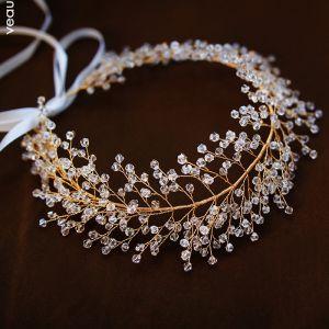 Elegante Oro Tocados Accesorios 2019 Metal Crystal Tocados de novia