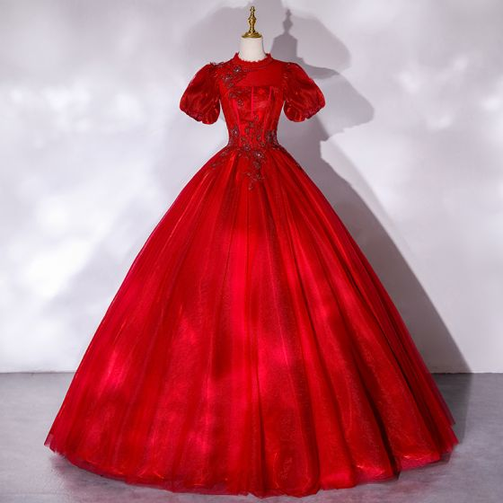 Victorian Style Red Dancing Prom Dresses 2021 Ball Gown High Neck Puffy Short Sleeve Beading Sequins Floor-Length / Long Ruffle Backless Formal Dresses