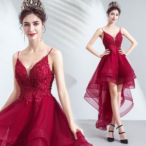 Sexy High Low Burgundy Cocktail Dresses 2019 A-Line / Princess Spaghetti Straps Beading Sequins Lace Flower Sleeveless Backless Asymmetrical Formal Dresses