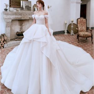 Sexy Ivory Wedding Dresses 2020 Ball Gown Off-The-Shoulder Beading Sequins Short Sleeve Backless Cathedral Train