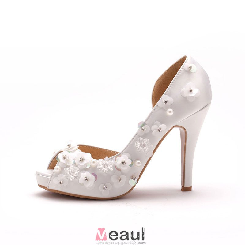 Simple Handmade Flower Bridal Shoes / Wedding Shoes